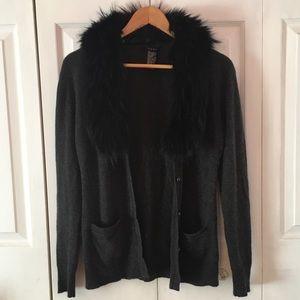 {THEORY} Cashmere Fur Cardigan Blyth T Sz S